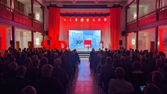 Manuela Schwesig spricht im Bürgerhaus Güstrow zur Feier von 30 Jahren SPD in MV