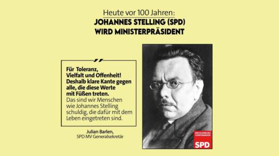 Johannes Stelling wird 1921 Ministerpräsident von Mecklenburg-Schwerin