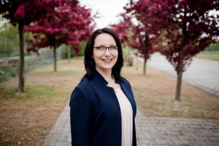 Antje Augustin am Rande des Landesparteitags in Rostock 2017